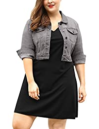 Agnes Orinda Women's Plus Size Button Closed Cropped Denim Jacket 3X Grey