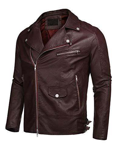 Invernale Rosso Retrò Uomini Con Zip S Da Vino Casual In Con Outwear xxl Motociclista Kisshes Pelle Autunno Giubbotto FSvdnWx0T0