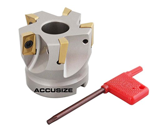 Accusize Industrial Tools 2'' x 3/4'' 90 Deg Square Shoulder Indexable Face Mill with 5 Pcs Apkt1604 Carbide Inserts, Nickel Plated Body, 4508-0012