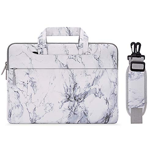 MOSISO Laptop Shoulder Bag Compatible with 15-15.6 Inch MacBook Pro, Ultrabook Netbook, Protective Canvas Marble Pattern Carrying Handbag Briefcase Sleeve Case Cover, White
