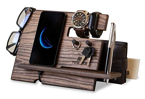 Wood Phone Docking Station Ash Key Hooks Holder Wallet Stand Watch Organizer Men Gift Husband Anniversary Dad Birthday Nightstand Purse Tablet Boyfriend Father Graduation Male Travel Idea Gadgets (Gifts Males For)