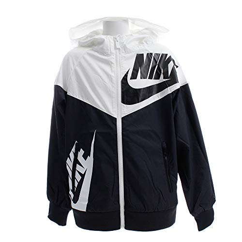 Nike Boy's Sportswear Graphic Windrunner Jacket (Black/White, X-Small) by Nike
