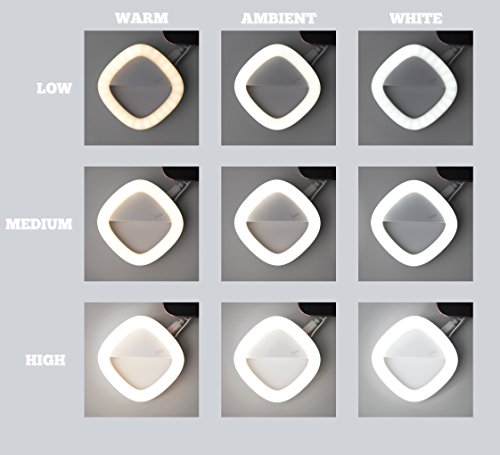 Selfie Ring Light for Camera with Rear Dimmable, Illuminated, Makeup Mirror. 53 LED, Rechargeable, 3 Light Colors, 3 Light Intensity. For iPhone, iPad, Samsung Galaxy, Android Phones, Laptops. Blue by Louxxi (Image #7)