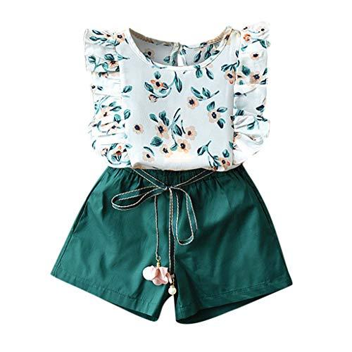 - CCSDR Little Girls Clothing Set Toddler Kids Flower Print Ruffle T-Shirt Top+Belt Tassel Ball Shorts Set Green