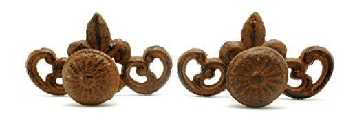 - Cast Iron Rustic Brown Victorian Style Fleur De Lis Scroll Knob Set of Two, Handle Pulls