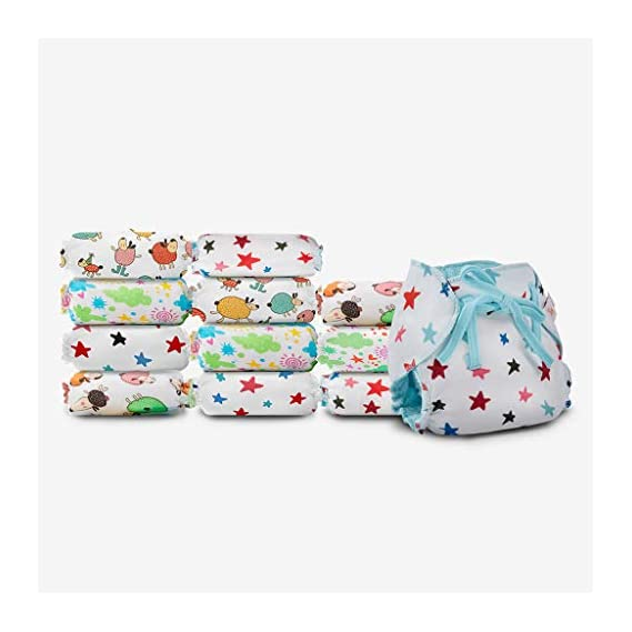 SuperBottoms Dry Feel Langot - Pack of 12- Organic Cotton Padded langot with Gentle Elastics & a SuperDryFeel Layer on