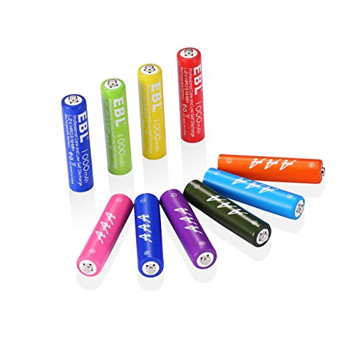 EBL Rechargeable AAA Batteries 1000mAh Ni-MH (10 Pack) with ProCyco Technology