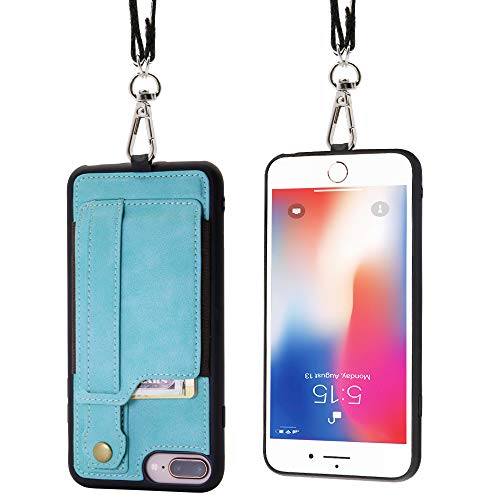 TOOVREN iPhone Necklace Lanyard Case with Kickstand Card Holder for iPhone 6 Plus/6s Plus/7 Plus/8 Plus Adjustable Detachable Anti-Lost Lanyard Strap Perfect for Daily use, Work, Outdoors Aqua by TOOVREN