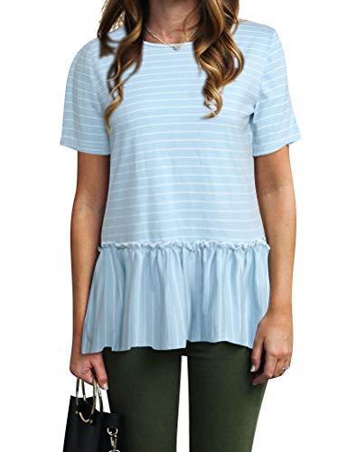 ZXZY Women Ruffle Hem Tshirt Round Neck Short Sleeve Stripe Blouse Peplum Tops Tee (L, ()