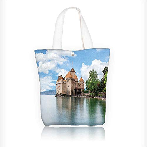 Ladies canvas tote bag view of famous chateau de chillon at lake geneva one of switzerland reusable shopping bag zipper handbag Print Design W16.5xH14xD7 ()