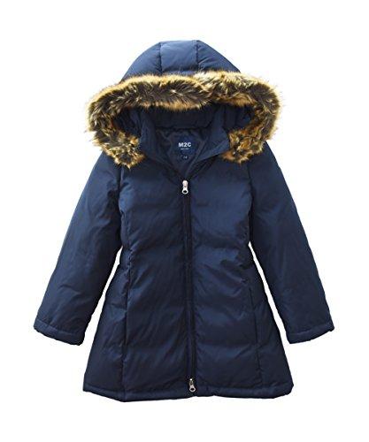 Blue Winter Coat Jacket (M2C Girls Faux Fur Hooded Long Puffer Duck Down Jacket Parka 8/9 Navy Blue)