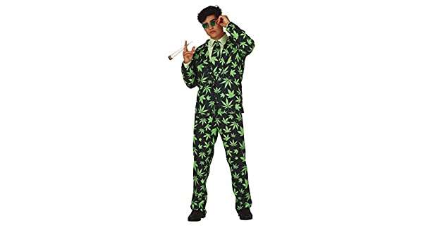 Mens Green Marijuana Cannabis Weed Suit Stag Do Night Funny Fancy Dress Costume Outfit Large