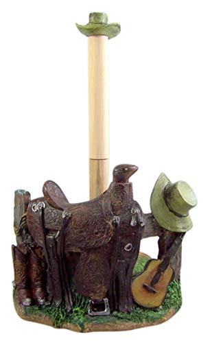 Western Cowboy Saddle and Hat Paper Towel Holder, 13 Inches