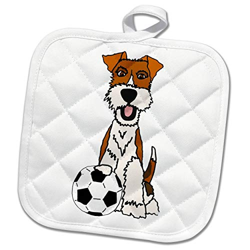 (3dRose All Smiles Art - Pets - Cool Funny Wire Fox Terrier Puppy Dog Playing Soccer Cartoon - 8x8 Potholder (PHL_307679_1))