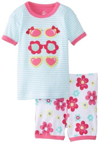 Petit Lem Baby Girls' Safari Sunglasses Short Set, Turquoise Stripe, 12 - Einstein Sunglasses