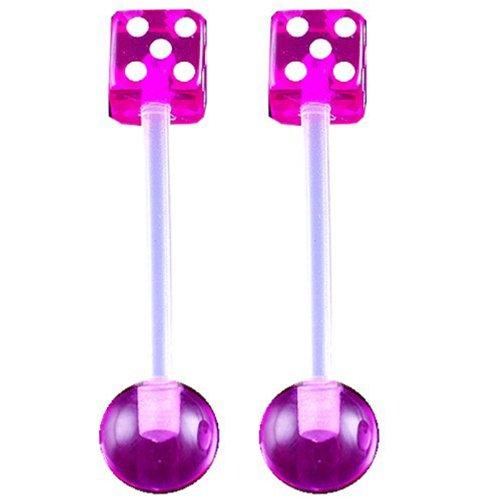 14g gauge 5/8 16mm Clear Flexible acrylic tongue bar nipple barbell straight 5mm dices 6mm ball Purple Piercing 2Pcs ADOI