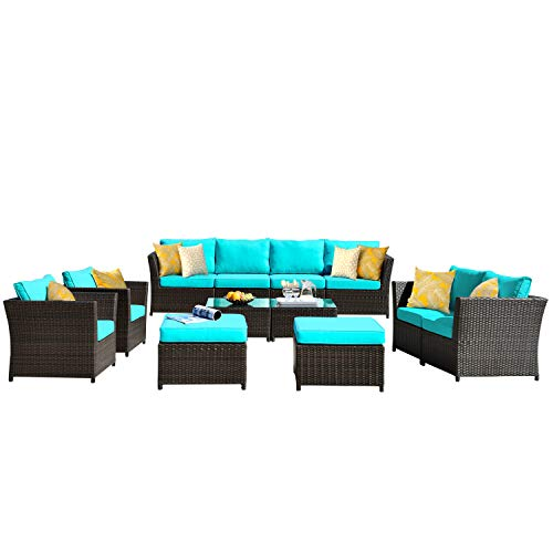 ovios Patio Furniture Set, Backyard Sofa Outdoor Furniture 6 Pcs Sets,PE Rattan Wicker sectional ...