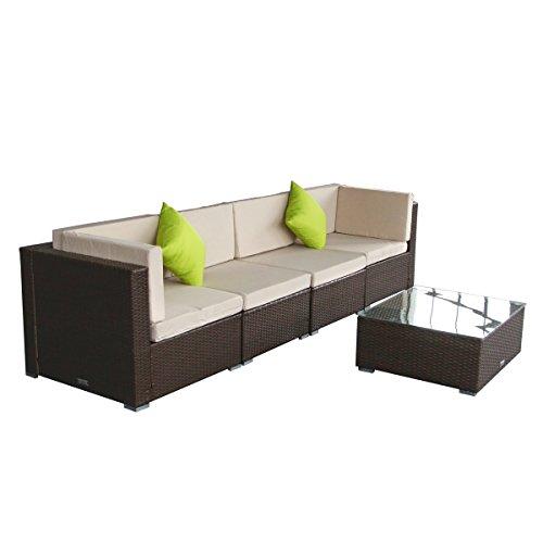 Wicker Furniture Set 5(B)pcs Patio PE Rattan Sectional Sofa Brown