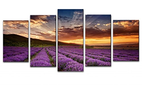 Wieco Art Lavender Field Abstract Canvas Prints Wall Art Purple Flowers Picture 5 Panels Modern Landscape Giclee for Living Room Bedroom Home Office Decorations