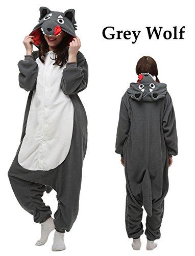 Unisex Adult Animal Onesie Grey Wolf Cosplay Costume Kigrumi Pajamas (M/L, Grey Wolf) - Cute Halloween Costumes For Girl Couples