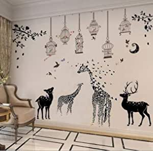 Pack Of 3 Removable Wall Paper For Home Decor,Giraffe And Birds And Fawn Waterproof Wallpaper For Living Room Baby Kids Girls Bedroom Decorative, DIY Wall Sticker, Wall Decals-8QZ0593
