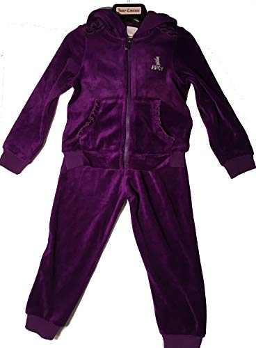 - Juicy Couture Girl's 2 Piece Hooded Velour Track Set,Purple,6x