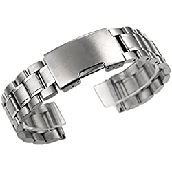 Zeiger 20mm New Mens Watch Band Stainless Steel Metal Watch Band Replacement Silver