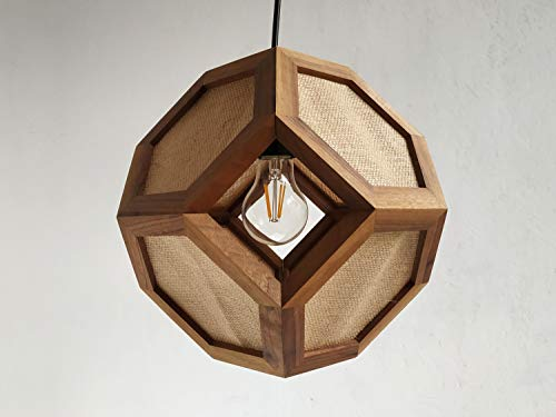 GANIMEDE JUTA pendant lamp in walnut and jute with counterframe, table lamp, truncated octahedron ()