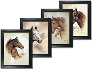 4 framed horse art prints mare pictures foal posters home decor interiors