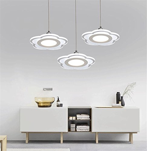 Malovecf Acrylic LED Living Room Ceiling Light Modern Chandelier Hanging Pendant Light 3-Bulb Chandelier Modern Metal Ceiling Light Bar Dining Dining Table Modern Rundes Chassis,weißes light
