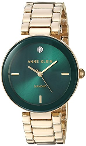 Anne Klein Women's AK/1362GNGB Diamond-Accented Gold-Tone Bracelet Watch