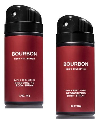 Bath and Body Works 2 Pack Men's Collection Deodorizing Body Spray. BOURBON. 3.7 Oz