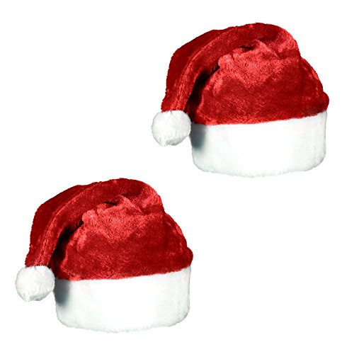 - Plush Red Velvet Santa Hat with White Cuffs (2 Pack)
