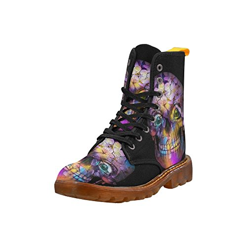 Leinterest Amazing Floral Skull Martin Boots Fashion Shoes Voor Dames
