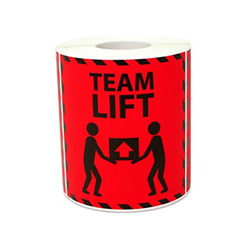300 Labels - Team Lift Stickers for Shipping Handling Warehouse Postage Transport Heavy Warning (3 x 3 inch, Red - 1 Roll)