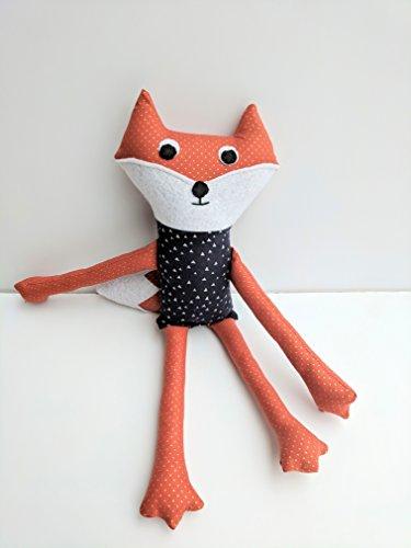 Orange Fox Stuffed Animal with Bushy Tail
