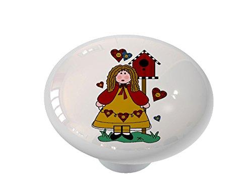 Birdhouse Cabinet Knob - Country Girl and Birdhouses Ceramic Drawer Knob