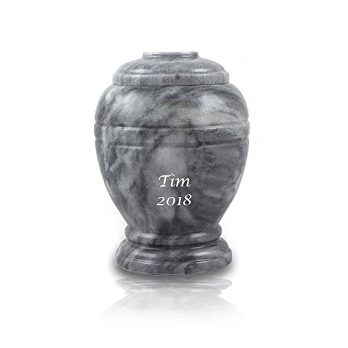 OneWorld Memorials Cloud Marble Pet Urn - Extra Small - Holds Up to 20 Cubic Inches of Ashes - Cloud Grey Pet Cremation Urn for Ashes - Engraving Sold Separately ()
