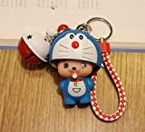 Thedmhom 1 Pcs 2018 Cute Kawaii Cartoon Anime Blue Robot Cat Red White Bell Wrist Rope Keychain Novelty Toy Gift Accessories Fashion Ornaments Coin Purse Baby Shape Keyring Bag Buckle Phone Pendant