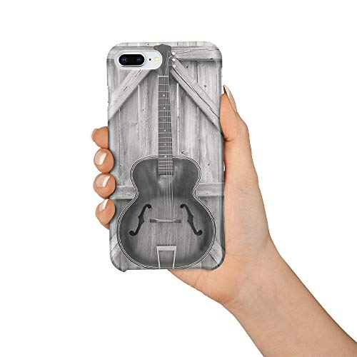 Durable Phone Case for iPhone 7 Plus/iPhone 8 Plus, Wooden Door Guitar Stylish Phone Shell Shockproof Protective Back Cover with Tempered Glass Screen Protector, Anti-Scratch ()
