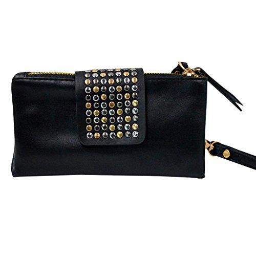 Felice Women Soft Leather Wristlet Clutch Folded Rivets Zipper Wallet Evening Bag (Studded Wristlet Clutch)
