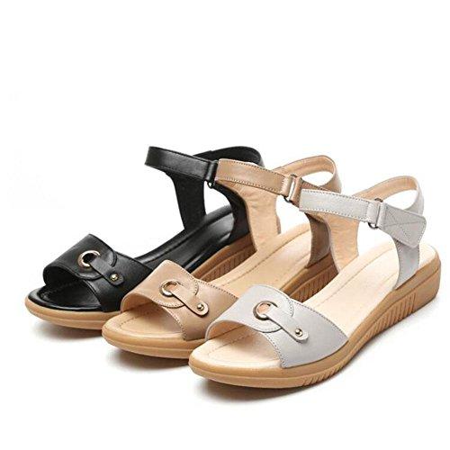 QL@YC Frauen Sandalen Sommer Flache High Heels Leder Soft Skid Anti Skid Großes Kleid Frauen Schuhe , brown , 37