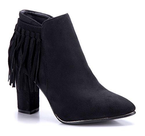 Schuhtempel24 Damen Schuhe Klassische Stiefeletten Stiefel Boots Blockabsatz 9 cm Schwarz