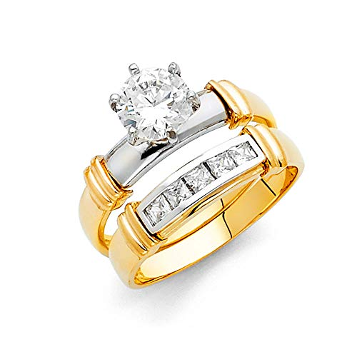 Wellingsale Ladies Solid 14k Two 2 Tone White and Yellow Gold CZ Cubic Zirconia Round Cut Engagement Ring and Wedding Band Bridal Set - Size 8