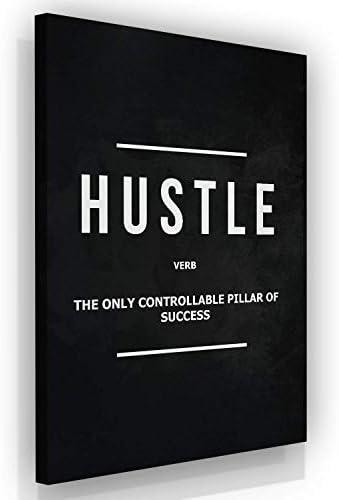 Hustle Verb Motivational Wall Art Canvas Print