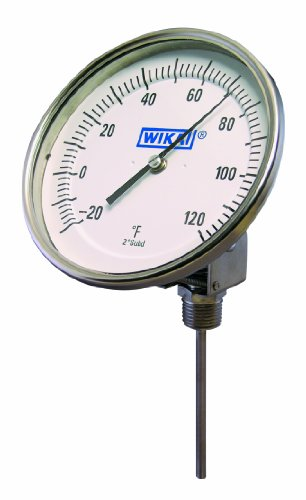 "WIKA TI.52 Stainless Steel 304 Process Grade Resettable Bi-Metal Thermometer, 5"" Dial, -40/120 Degrees F/Degrees Celsius, 9"" Stem, 1/2"" NPT Connection, All-Angle Adjustable Mount"