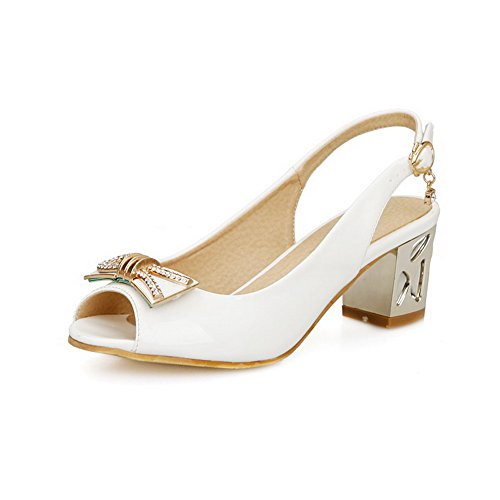 Allhqfashion Womens Peep Toe Fibbia Pu Solido Sandali Con Tacco Gattino Bianco