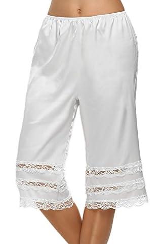 Avidlove Women Lingerie Satin Lace Pettipants Snip-it Culottes Slips Bloomers Split Skirt, Style1-White, XL
