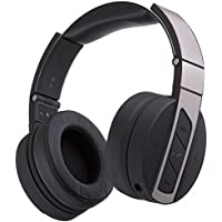 Monoprice Bluetooth Wireless Headphones with Built-In Microphone, Black and Brushed Metal Over Ear Headphones - (113893)