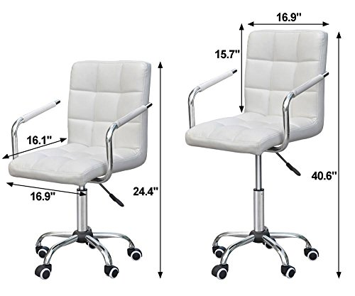 cheap yaheetech mid back designer white leather executive office chair
